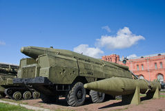 Russian SCUD missile launcer. Old russian SCUD missile launcer at the russian militaru museum at St. Petersburg Stock Image