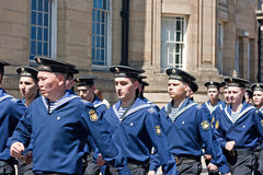 Russian seamen marching through Liverpool Stock Photo