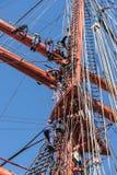 Russian seamen working aloft. On barque STS Sedov Stock Image