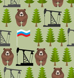 Russian seamless pattern. Bears and forest. Oil rig and a Russia Royalty Free Stock Images
