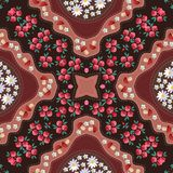Russian seamless pattern with poppy, mushrooms, daisy and yarrow. Kerchief square design Stock Images