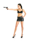 Russian secret agent. Beautiful secret agent girl with handgun isolated on white Stock Photos