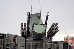Russian self-propelled anti-aircraft missile and gun system ZRPK onshore and offshore. Royalty Free Stock Photography