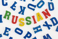Russian. Series modern languages: Word Russian in colorful letters on white backgroundrn Royalty Free Stock Photo