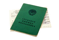 Russian service record of farmer and tractor driver's license Stock Photography