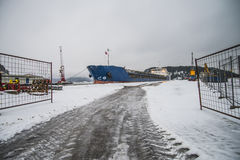 Russian ship visiting the port of Halden Royalty Free Stock Photo