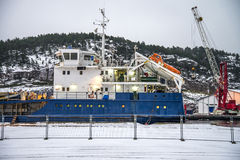 Russian ship visiting the port of Halden Stock Images