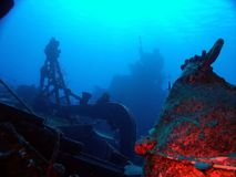 Russian Shipwreck in the Caribbean. The MV Keith Tibbetts shipwreck lies in the waters off Cayman Brac; This wreck is the only Russian warship that divers can Stock Image