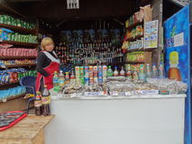 Russian shop. View of a small russian countryside shop Stock Images