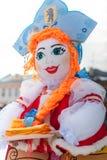 Russian Shrovetide doll in kokoshnik with the emblem of Yaroslav. Russia, Yaroslavl 16 of February 2015. Russian Shrovetide doll in kokoshnik with the emblem of Royalty Free Stock Image