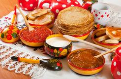 Russian Shrovetide meal Stock Image