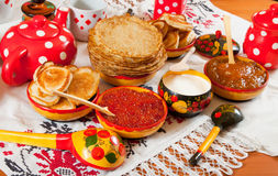 Russian Shrovetide meal Royalty Free Stock Image