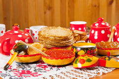 Russian Shrovetide table Royalty Free Stock Photography
