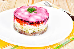 Russian Shuba Salad with Beetroot, Potatoes, Carrots and Herring Royalty Free Stock Photos