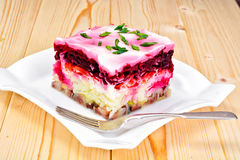 Russian Shuba Salad with Beetroot, Potatoes, Carrots and Herring Royalty Free Stock Images