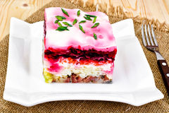Russian Shuba Salad with Beetroot, Potatoes, Carrots and Herring Royalty Free Stock Photography