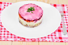 Russian Shuba Salad with Beetroot, Potatoes, Carrots and Herring Royalty Free Stock Image