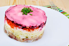 Russian Shuba Salad with Beetroot, Potatoes, Carrots and Herring Stock Photos