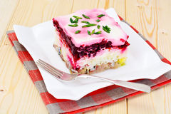 Russian Shuba Salad with Beetroot, Potatoes, Carrots and Herring Stock Photo
