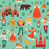 Russian sights and folk art. Flat design Vector illustration. Seamless pattern vector. Russian sights and folk art. Flat design Vector illustration. Seamless Royalty Free Stock Photography