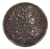 Russian silver coin, 1865. The old Russian silver coin 20 copecks 1865 Stock Image