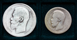 Russian silver coin 1 ruble  and 50 kopecks Stock Photography