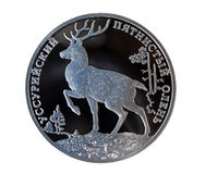 Russian silver ruble with deer Stock Photography
