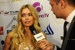 Russian singer actress Vera Brejneva giving away interview backstage during the Big Apple Music Awards 2016 Concert Stock Image