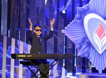 Russian singer Ludub Ochirov at the ceremony of awarding the winners of the `warm heart`. Stock Photo
