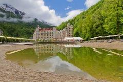 A russian ski resort Rosa Khutor. Famous ski resort Rosa Khutor in the Caucasus Mountains, Russia royalty free stock photography