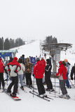 Russian ski resorts Sorochany in winter season. KUROVO VILLAGE, RUSSIA - JANUARY 12: Russian ski resorts Sorochany in winter season with resting people in Moscow stock image