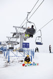 Russian ski resorts Sorochany in winter season Stock Photos