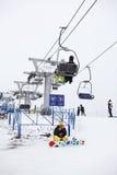 Russian ski resorts Sorochany in winter season. KUROVO VILLAGE, RUSSIA - JANUARY 12: Russian ski resorts Sorochany in winter season with resting people in Moscow stock photos
