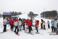Russian ski resorts Sorochany in winter season. KUROVO VILLAGE, RUSSIA - JANUARY 12: Russian ski resorts Sorochany in winter season with resting people in Moscow Stock Images