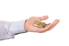 Russian small change. In Hand Isolated on the white background Royalty Free Stock Images