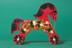 Russian small craft : wooden horse Stock Photos