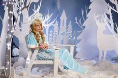 Russian Snow Maiden in blue suit and kokoshnik Stock Image