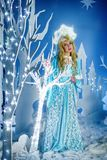 Russian Snow Maiden in blue suit and kokoshnik Royalty Free Stock Photo