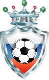 Russian soccer. Vector illustration of the soccer ball on russian flag Stock Images
