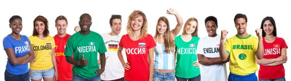 Russian soccer fan with fans from other countries. Russian soccer fan with fans from Germany, Russia, Brazil and other countries Stock Photos