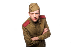 Russian soldier angry looking Stock Photography