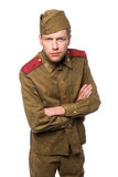 Russian soldier angry looking. Second world war russian soldier angry looking. Studio portrait isolated on white background Stock Photos