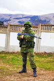 Russian soldier guarding an Ukrainian naval base in Perevalne, C Stock Photography