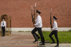 Russian soldier honor guard at the Kremlin wall. Tomb of the Unknown Soldier in Alexander Garden in Moscow. Stock Photo