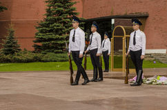 Russian soldier honor guard at the Kremlin wall. Tomb of the Unknown Soldier in Alexander Garden in Moscow. Royalty Free Stock Images
