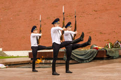 Russian soldier honor guard at the Kremlin wall. Tomb of the Unknown Soldier in Alexander Garden in Moscow. Royalty Free Stock Photography