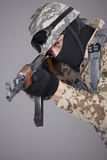 Russian soldier with machine gun Royalty Free Stock Photos