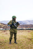 Russian soldier in Perevalne, Crimea Royalty Free Stock Images