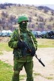 Russian soldier in Perevalne, Crimea Stock Photo
