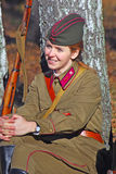 Russian soldier-reenactor woman. Royalty Free Stock Photo